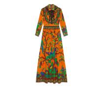 Abendkleid aus Seide mit Jubiläums-Print