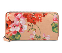 Brieftasche mit Rundumreißverschluss und Blooms-Druck