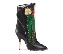 Stiefel aus Leder mit Blumen-Intarsie