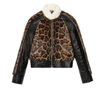 Jacke aus Leder mit Fell mit Leoparden-Print