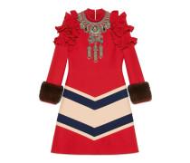 Kleid aus Wolle und Seide mit Stickerei