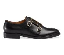 Brogue-Monk-Schuh aus Leder mit Bienenmotiv