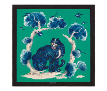 Halstuch aus Seide mit Wild Cat-Print