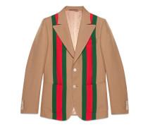 Heritage Jacke aus Wollkrepp mit Webstreifen-Band