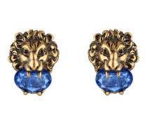 Ohrringe mit Löwenkopf und Kristallen