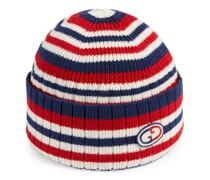 Mütze aus gestreifter Wolle mit GG Patch
