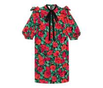 Kleid aus Schlangen-Jacquard mit Mohnblume