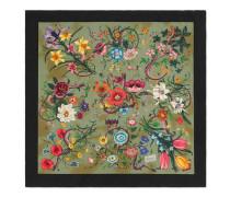 Halstuch aus Seide mit Flora Snake Vintage-Print