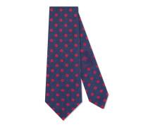 Krawatte aus Seidensablé und Leinen mit Punktmuster