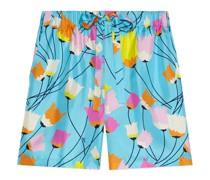 Shorts aus Seide mit Tulpen-Print