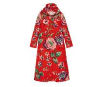Mantel aus gebürstetem Mohair mit Blumen-Motiv