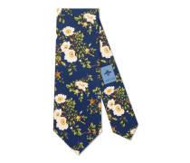 Krawatte aus Seidensablé mit Rosenprint