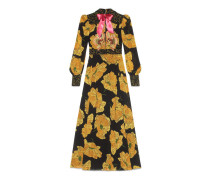 Abendkleid mit gelbem Mohn-Print
