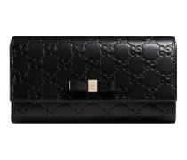 Lange Brieftasche aus Leder Gucci Signature mit Schleife