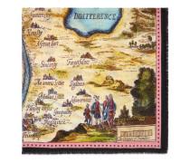 Schal aus Wolle und Seide mit Carte de Tendre Print