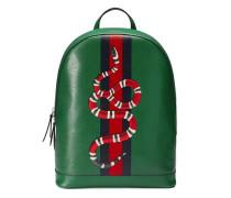 Rucksack aus Leder mit Webstreifen und Schlangen Print