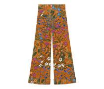 Hose aus Cord mit New Flora-Print