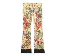 Hose im Stil der 70er aus Leinen mit Flora-Schlangen-Print