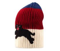 Mütze aus Wolle mit Webstreifen und Panther