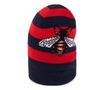 Mütze aus gestreifter Wolle mit Bienen-Stickerei