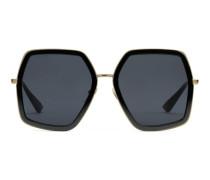 Extragroße Sonnenbrille mit quadratischem Rahmen aus Metall