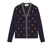 Cardigan aus Wolle mit Bienen und Sternen