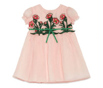 Children's silk dress with embroidery