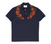 Poloshirt aus Baumwolle mit Blumenstickerei
