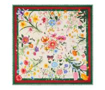 Schal aus Wolle und Seidensablé mit Blumen- und Webstreifen-Print