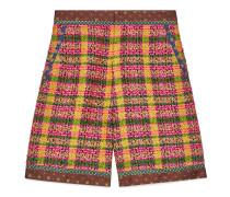 Shorts aus kariertem Tweed mit Seidendetails