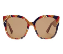 Sonnenbrille mit quadratischem Rahmen aus Azetat mit Webstreifen