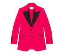 Jacke aus Wolle und Seide mit Kontrast