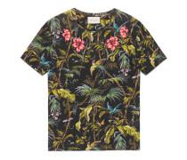 T-Shirt aus Leinen mit Tropical-Print