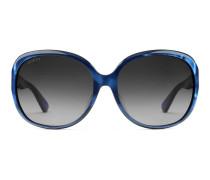 Extragroße Sonnenbrille mit rundem Rahmen aus Azetat