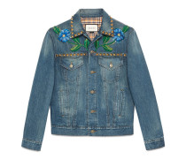 Painted denim jacket with embroidery