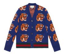 Cardigan aus Wolle mit Tiger-Jacquard