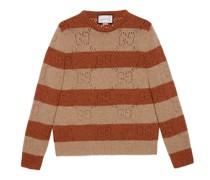 Pullover aus gestreiftem Wollstrick mit GG Motiv
