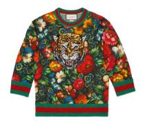 Pullover mit Stickerei und Blumen-Print