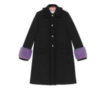 Mantel aus Wolle mit Nerz