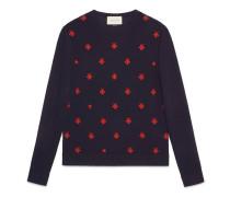 Pullover aus Wolle mit Rundhalsausschnitt und Bienen und Sternen