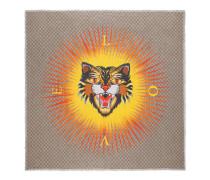 Halstuch aus Modal und Seide mit Böse Katze-Print