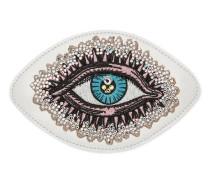 Applikation aus Leder mit Augen-Stickerei