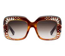 Übergroße Sonnenbrille mit quadratischem Rahmen und Strassbesatz