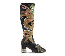 Hoher Stiefel mit mittelhohem Absatz aus Satin mit Drachen-Motiv