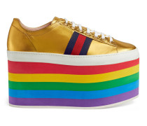 Low-Top-Sneaker aus Leder mit Plateau