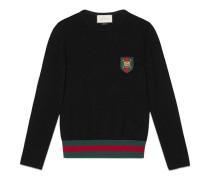 Pullover aus Baumwolle mit rundem Ausschnitt und Webstreifen