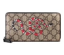 Brieftasche mit Rundumreißverschluss aus GG Supreme mit Schlangenprint