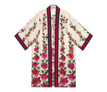Kimono aus Seide mit Rosengarten-Print