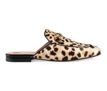 Slipper Princetown aus Kalbsfell mit Leoparden-Motiv