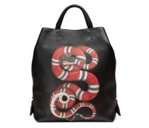 Rucksack aus Leder mit Schlangenprint